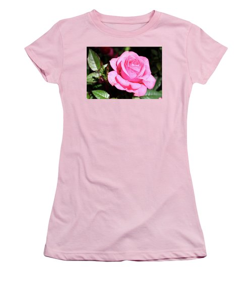 Pink Rose Women's T-Shirt (Junior Cut) by Ronda Ryan