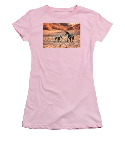 Women's T-Shirt (Athletic Fit) featuring the photograph Pitbull And Doberman by Peter Lakomy