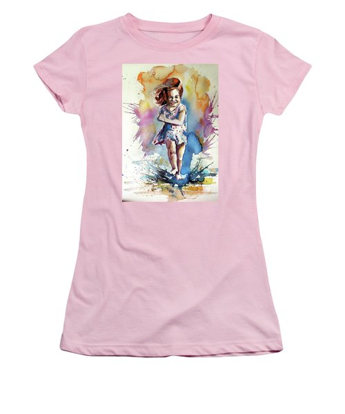 Women's T-Shirt (Junior Cut) featuring the painting Playing Girl by Kovacs Anna Brigitta