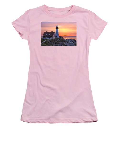 Portland Head Lighthouse Sunrise Women's T-Shirt (Athletic Fit)