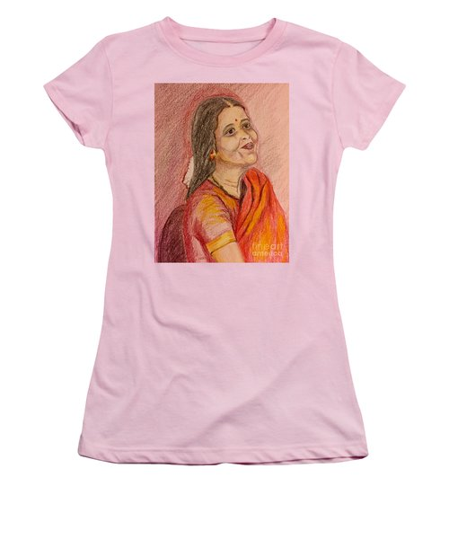 Portrait With Colorpencils Women's T-Shirt (Athletic Fit)