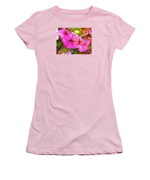 Pretty Pink Petunias Women's T-Shirt (Athletic Fit)