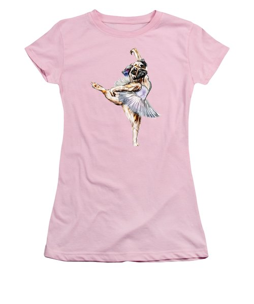 Pug Ballerina Dog Women's T-Shirt (Junior Cut)