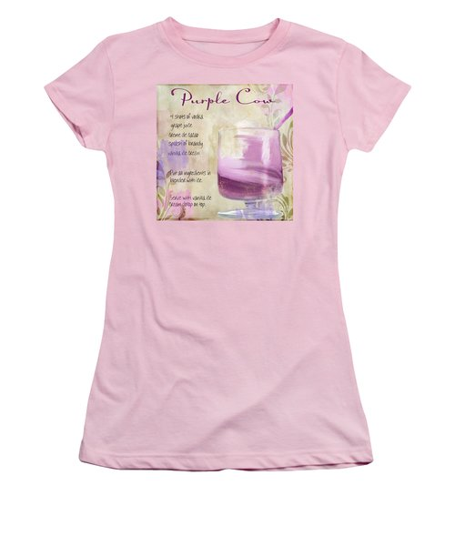 Purple Cow Mixed Cocktail Recipe Sign Women's T-Shirt (Junior Cut) by Mindy Sommers