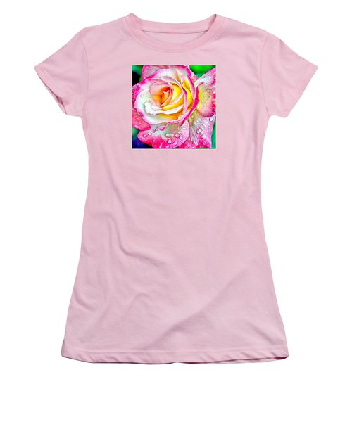 Radiant Rose Of Peace Women's T-Shirt (Junior Cut) by Charmaine Zoe