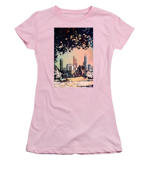 Women's T-Shirt (Junior Cut) featuring the painting Raleigh Skyline V by Ryan Fox