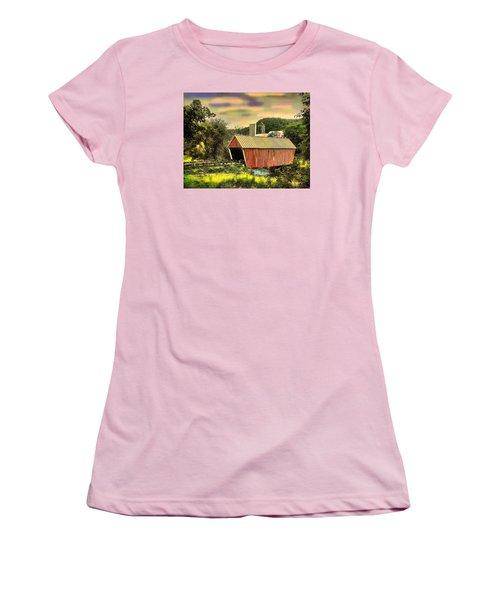 Women's T-Shirt (Junior Cut) featuring the digital art Randolf Covered Bridge by John Selmer Sr