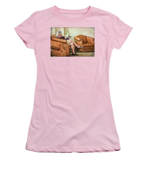 Women's T-Shirt (Athletic Fit) featuring the photograph Reading At The Library by Lewis Mann