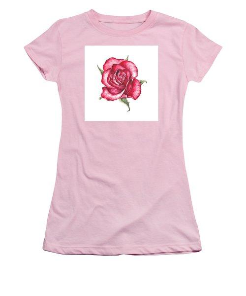 Red Rose Women's T-Shirt (Junior Cut) by Heidi Kriel