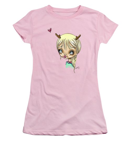 Women's T-Shirt (Junior Cut) featuring the painting Reindeer Kisses by Lizzy Love