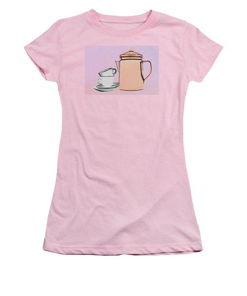 Women's T-Shirt (Junior Cut) featuring the photograph Retro Style Coffee Illustration by Tom Mc Nemar