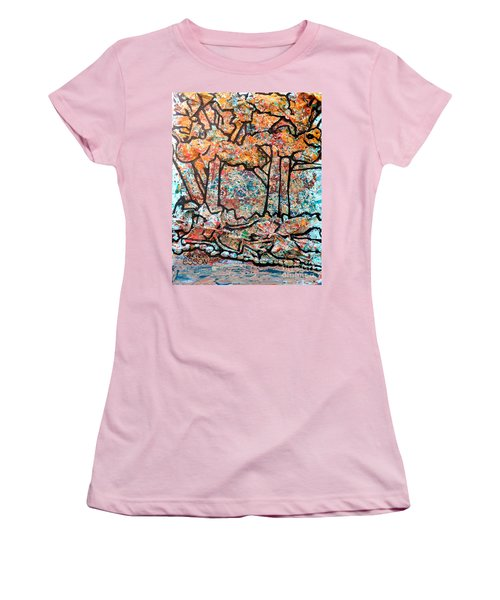 Women's T-Shirt (Junior Cut) featuring the mixed media Rhythm Of The Forest by Genevieve Esson