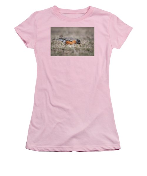 Women's T-Shirt (Junior Cut) featuring the photograph Robin Pulling Worm by Tyson Smith
