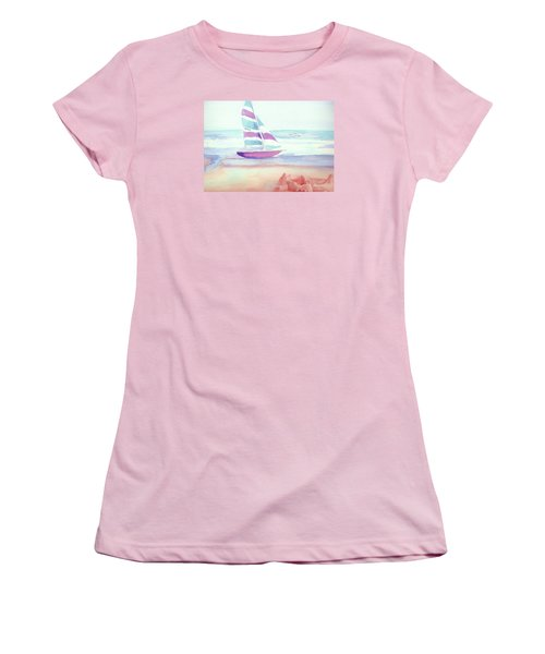Women's T-Shirt (Junior Cut) featuring the painting Sail Away by Denise Fulmer