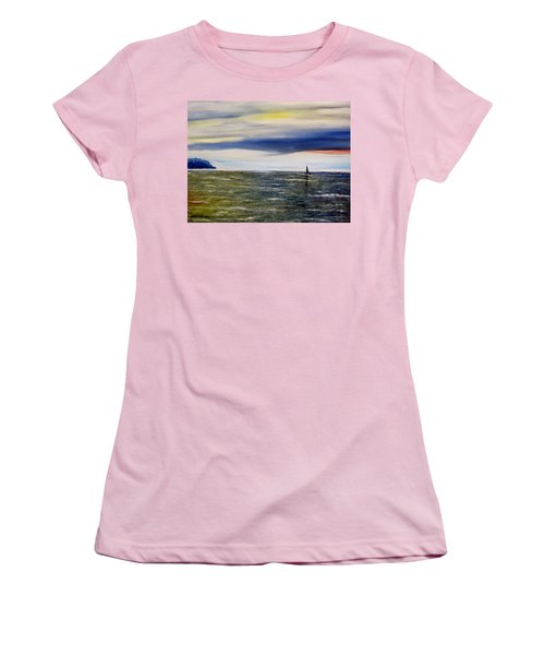 Women's T-Shirt (Junior Cut) featuring the painting Sailing At Dusk by Marilyn  McNish