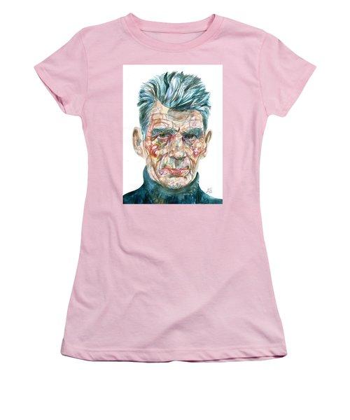 Women's T-Shirt (Junior Cut) featuring the painting Samuel Beckett Watercolor Portrait.10 by Fabrizio Cassetta