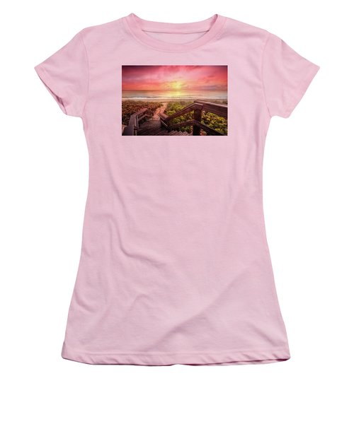 Women's T-Shirt (Junior Cut) featuring the photograph Sand Dune Morning by Debra and Dave Vanderlaan