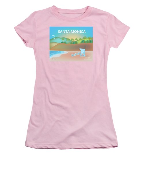 Santa Monica California Horizontal Scene Women's T-Shirt (Athletic Fit)