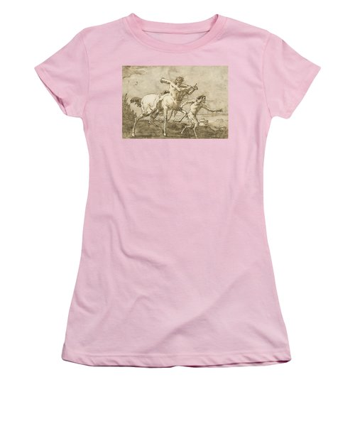 Satyr Leading A Centaur, Who Carries A Club, Bow And Quiver, Outside The Walls Of A City Women's T-Shirt (Athletic Fit)