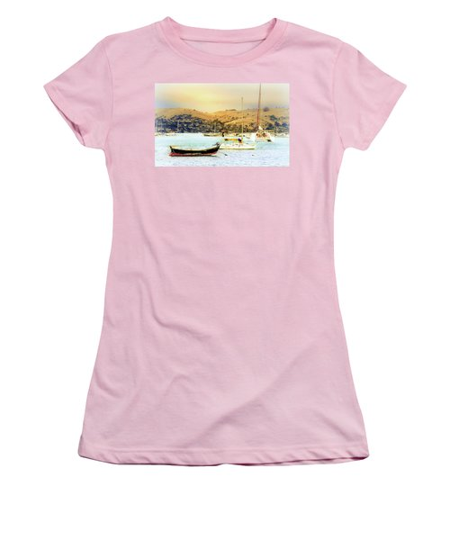 Women's T-Shirt (Junior Cut) featuring the photograph Sausalito Sailboats by Laura DAddona