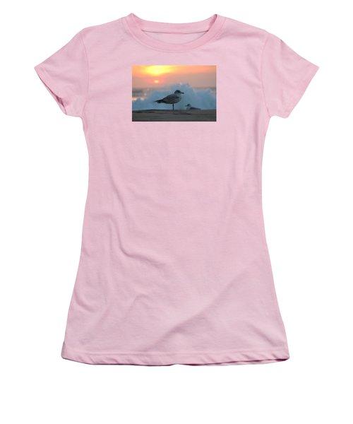 Seagull Seascape Sunrise Women's T-Shirt (Junior Cut) by Robert Banach