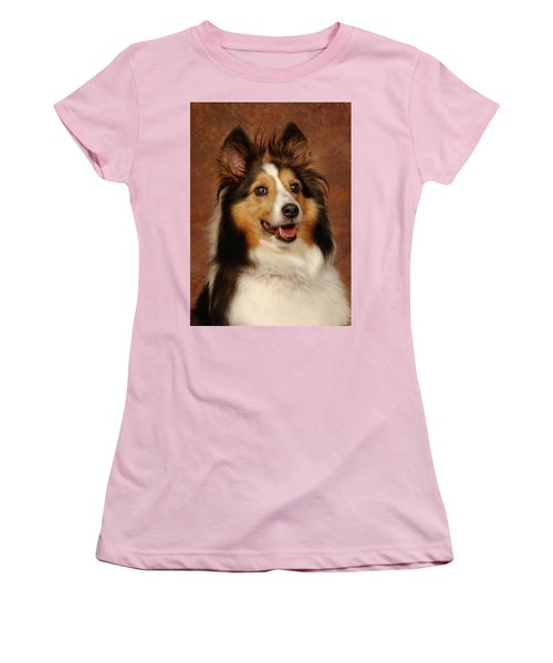 Sheltie Women's T-Shirt (Junior Cut) by Greg Mimbs
