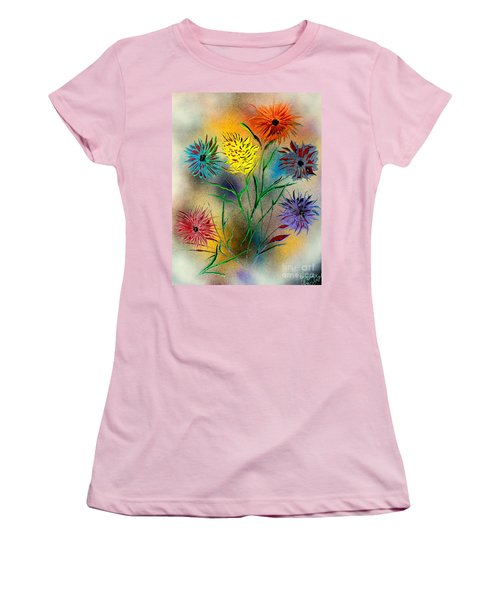 Women's T-Shirt (Junior Cut) featuring the painting Six Flowers - E by Greg Moores