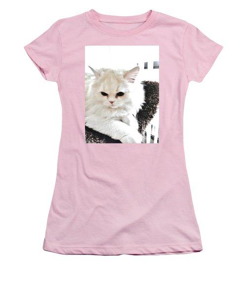 Women's T-Shirt (Junior Cut) featuring the photograph Snowball Is 92 Year Old Widows Cat by Marsha Heiken