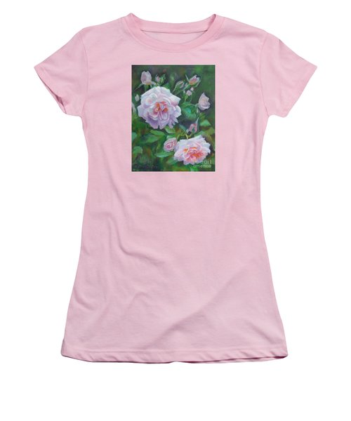 Women's T-Shirt (Junior Cut) featuring the painting Softly Pink Roses by Karen Kennedy Chatham