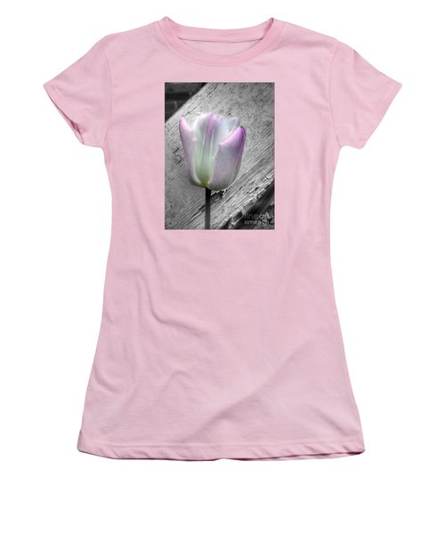Solitary Pink Whisper Tulip Women's T-Shirt (Athletic Fit)