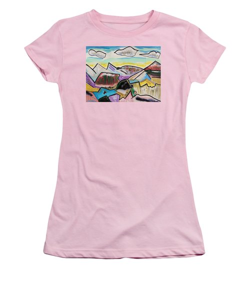 Women's T-Shirt (Junior Cut) featuring the painting Some Gold In The Hills by Mary Carol Williams