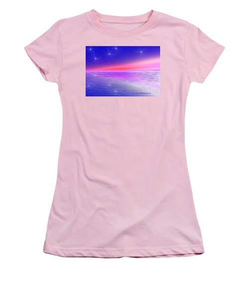 Women's T-Shirt (Junior Cut) featuring the digital art Song Of Night Sea by Dr Loifer Vladimir