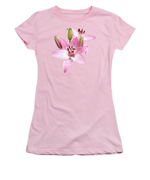 Spray Of Pink Lilies Women's T-Shirt (Junior Cut) by Jane McIlroy