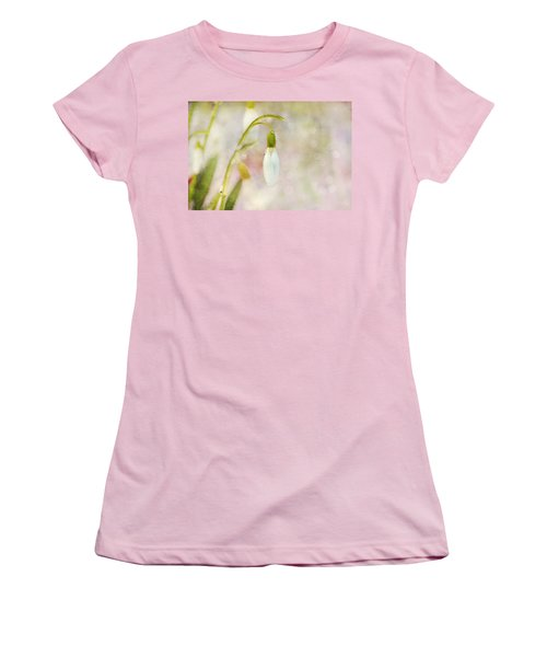 Spring Snowdrops And Bokeh Women's T-Shirt (Junior Cut) by Peggy Collins