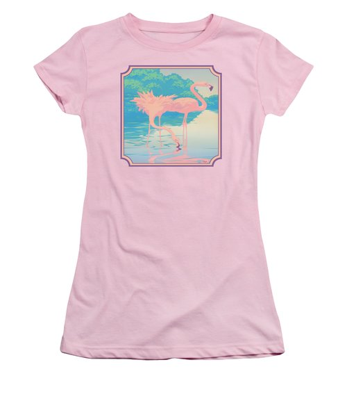 Square Format - Pink Flamingos Retro Pop Art Nouveau Tropical Bird 80s 1980s Florida Painting Print Women's T-Shirt (Junior Cut) by Walt Curlee