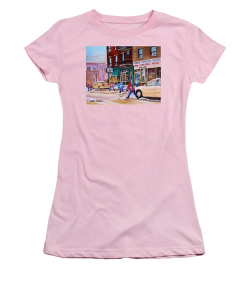 Women's T-Shirt (Junior Cut) featuring the painting St. Viateur Bagel With Boys Playing Hockey by Carole Spandau