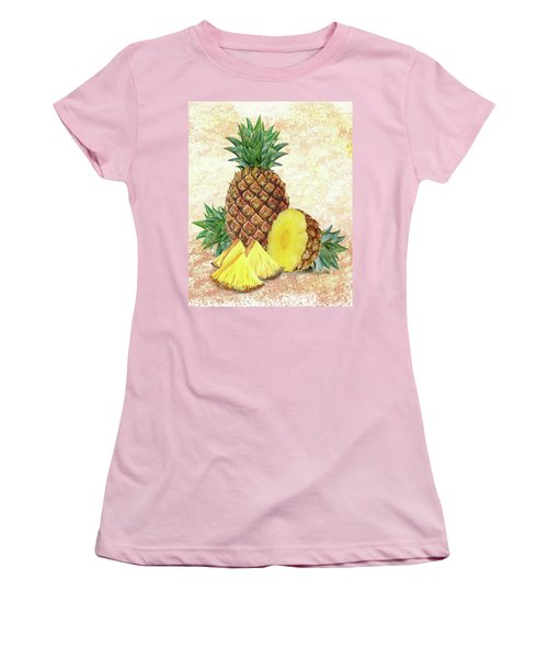 Women's T-Shirt (Athletic Fit) featuring the painting Still Life With Pineapple by Irina Sztukowski