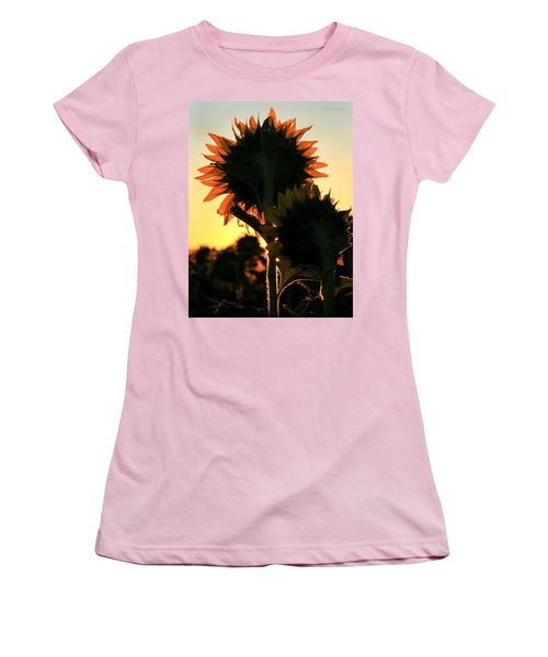 Women's T-Shirt (Junior Cut) featuring the photograph Sunflower Greeting  by Chris Berry