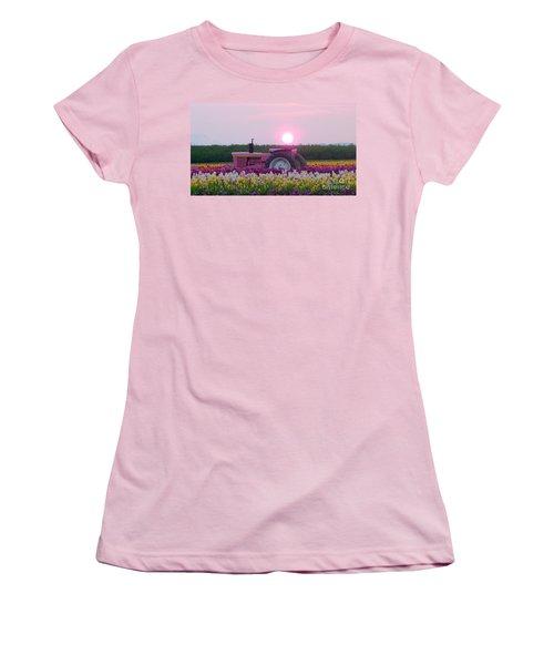 Sunrise Pink Greets John Deere Tractor Women's T-Shirt (Junior Cut) by Susan Garren