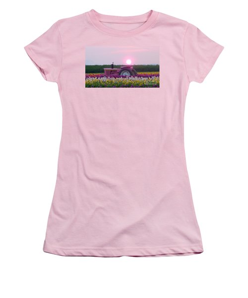 Sunrise Pink Greets John Deere Tractor Women's T-Shirt (Athletic Fit)