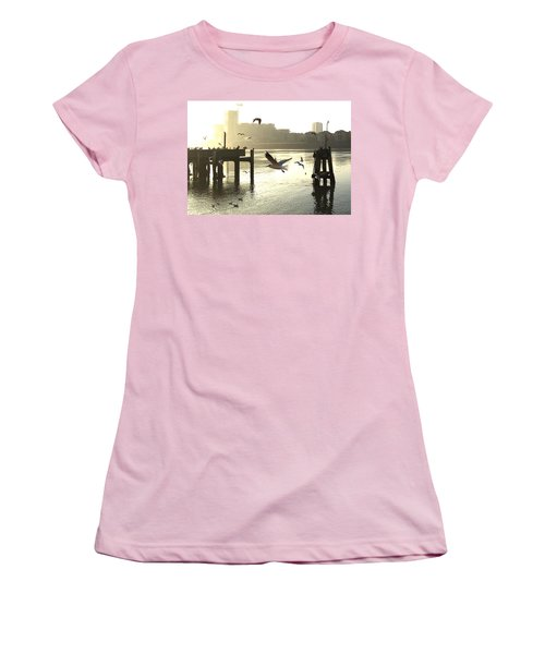 Sunrise With Seagulls Women's T-Shirt (Athletic Fit)