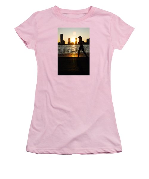 Women's T-Shirt (Junior Cut) featuring the photograph Sunset Runner by James Kirkikis