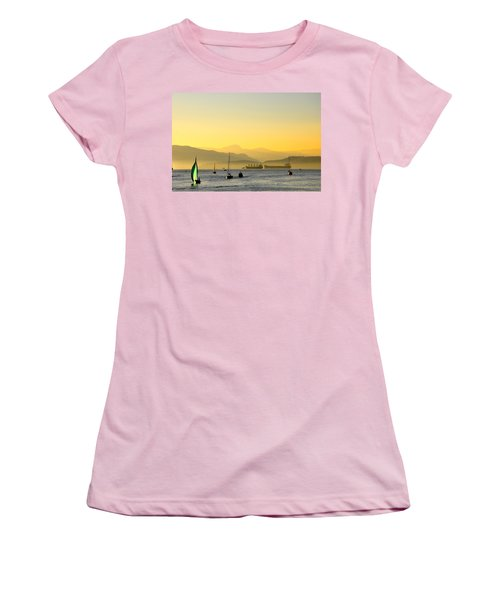 Sunset With Green Sailboat Women's T-Shirt (Athletic Fit)