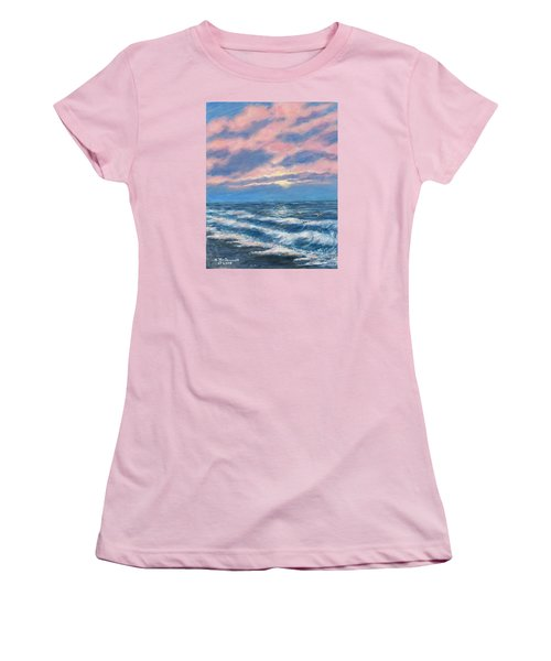 Women's T-Shirt (Junior Cut) featuring the painting Surf And Clouds by Kathleen McDermott