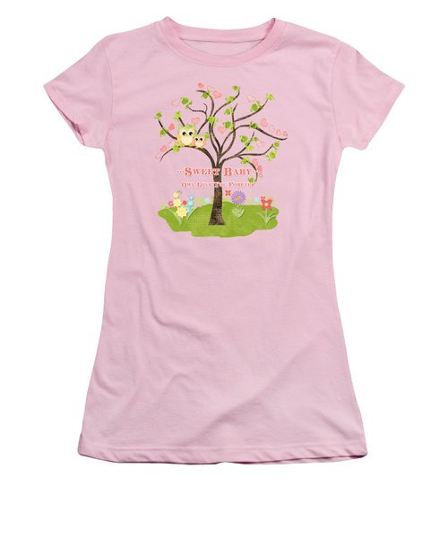 Women's T-Shirt (Junior Cut) featuring the painting Sweet Baby - Owl Love You Forever Nursery by Audrey Jeanne Roberts