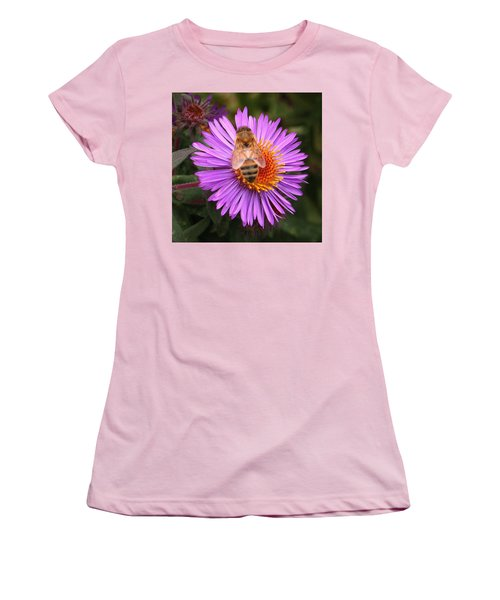 Women's T-Shirt (Junior Cut) featuring the photograph The Aster And The Bee by Laurel Talabere