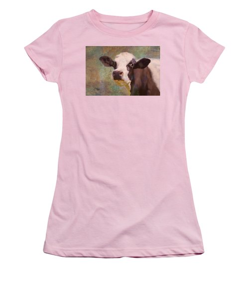 Women's T-Shirt (Junior Cut) featuring the mixed media The Dairy Queen by Colleen Taylor