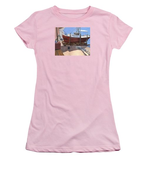 Women's T-Shirt (Junior Cut) featuring the painting The Red Troller by Gary Giacomelli