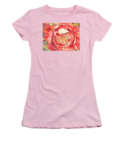 Women's T-Shirt (Athletic Fit) featuring the painting The Rose by Mary Haley-Rocks