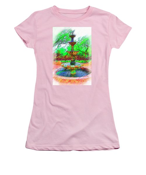 The Spanish Courtyard Fountain Women's T-Shirt (Junior Cut) by Kirt Tisdale